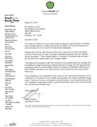 Thank You Letter For Food Donation Thank You Letter To Nigerian Foundation From Houston Food Bank