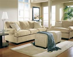 beige living room furniture. Interesting Beige Sofa With Ethan Allen Furniture And Decorative Cushions Plus Ottoman Also Wood Tile Flooring Living Room