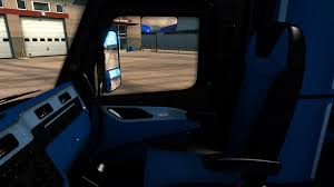 peterbilt 579 blue black interior 1