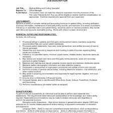 Medical Billing And Coding Job Description For Resume Billing And Coding Job Description Fred Resumes 2