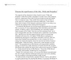 discuss the significance of the title pride and prejudice document image preview