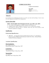 Standard Resume Format 2 Cv Template