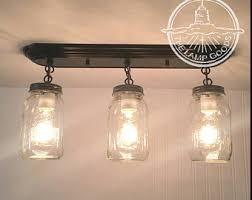 mason jar track lighting. MASON JAR Light Rectangular Trio With New Quarts-Flush Mount Ceiling Fixture Rustic Farmhouse Glass Mason Jar Track Lighting I