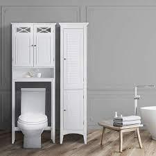 Elegant Home Fashions Dawson Over The Toilet Space Saver Cabinet Storage White Furniture Decor