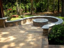 garden stamped concrete patio with fire pit