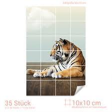 Fliesenaufkleber Fliesenbild Tiger Liegend Mächtig Stolz Wildnis