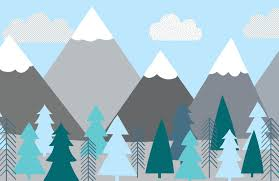 Berge Und Bäume Bemalte Tapete Kinder Baby Schwangerschaft