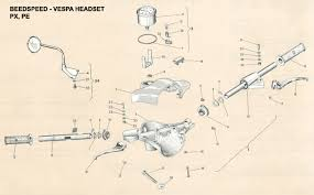 vespa part diagrams kickstart gear cluster p200 · lamps brake switch ign switch p2 · rear hub and backplate px pe · rear lamp t5 · selector box ht coil p2
