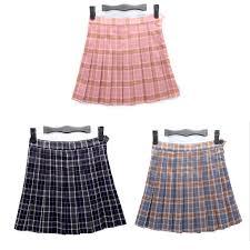 Pleated Skirt Pattern Simple Popular Women Summer Schoolgirl Cosplay Mini Pleated Skirt Lattice