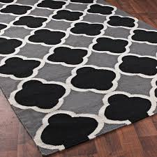 Trendy Black Color Combined White Lined Decor Rug Design Idea For  Delightful Wood Floor Design