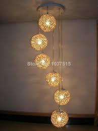cool lights living. 6 Light Natural Rattan Woven Ball Led Pendant Lights Living Room Lamp Bedroom Small Metal From Ledart0730, Cool A