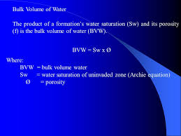 volume of water equation. bulk volume of water the product a formation\u0027s saturation (sw) and its equation o