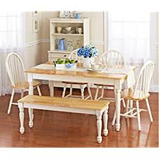 white dining room set with bench this country style dining table and chairs set for 6 is solid oak wood quality construction a traditional dining table