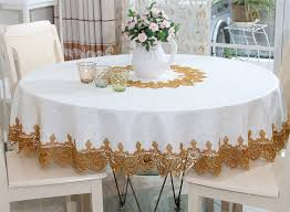 elegant hollow out lace embroidered jacquard fabric table linen unique tablecloth for round prodigous