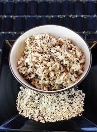 planet rice quinoa sprouted rice power blend raw on plate and cooked in