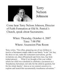 Terry Nelson Johnson flyer - Ascension Catholic Church