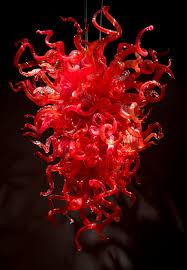enthusiasm red modern decorative mouth blown art glass chandelier