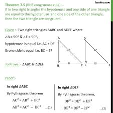 Triangle Proofs Theorem 7 5 Rhs Congruency Right Angle Hypotenuse Side