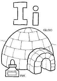 igloo coloring capital letter i for page my playhouse