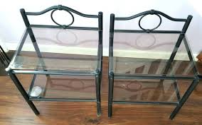 metal and glass bedside table tables iron black wrought