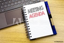Agenda Business Writing Text Showing Meeting Agenda Business Concept For