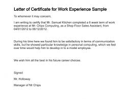 Simple Certificate Of Work Experience Letter Sample V M D Com