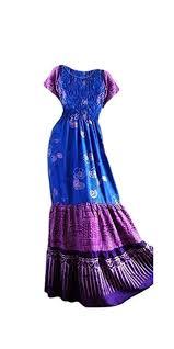 Amazon Com Cool Kaftans 3 Tier Blue Purple Long Dress Batik Gypsy