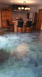 blue stained concrete patio.  Stained Azure Blue Acid Stain AC1315 High Gloss Sealer And Commercial Wax Intended Stained Concrete Patio