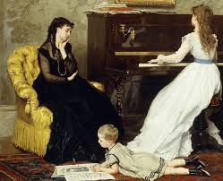 playing piano painting practicing by gustave leonard de jonghe