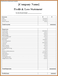 profit and loss form simple profit and loss template simple easy to use sample with