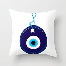 turkish blue eye bead throw pillow