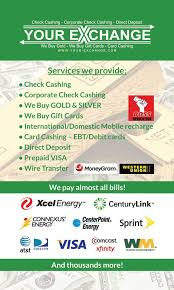 your exchange check cashing s most gift carderchandise credits why carry around a gift card you know you ll never yelp