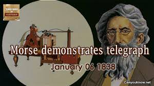 Image result for Samuel Morse demonstrates his telegraph system for the first time in Morristown, New Jersey.