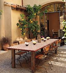 furniture fascinating brown backyard garden wall color background focused on rustic wooden outdoor dining table