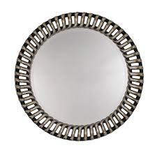 round ribbed framed silver and black bevelled wall mirror