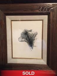 g harvey cow portrait pencil drawing western painting