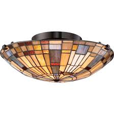 quoizel inglenook 2 light flush mount in bronze w tiffany glass