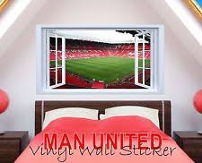 manchester united old trafford 3d window view scene wall art decal sticker boys on manchester united wall art with manchester united wall stickers ebay