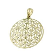 details about pendant necklace pattern flower of life round 375 gold yellow gold las