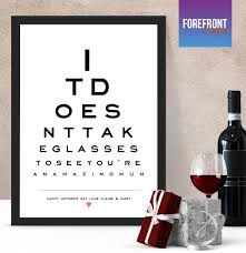 Personalised Eye Chart Print Ideal Birthday Anniversary Gift
