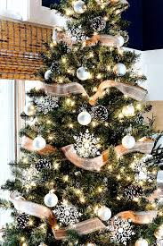 christmas trees decorated with burlap ribbon. Christmas Tree With Burlap Ribbon Pine Cones To Trees Decorated