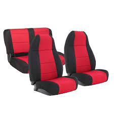1991 95 wrangler neoprene seat cover set black red