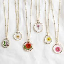 real pressed birth flower necklace in