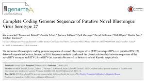 Bluetounge Virus The Genome Of The Novel Bluetongue Virus Serotype 27 Has Been