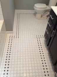 retro inspired octagon and dot bathroom floor tile