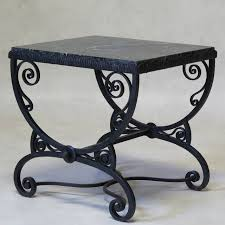 black wrought iron furniture. Charming Art Deco Table With A Scrolling, Curule-shaped, Hammered And Wrought Iron Black Furniture