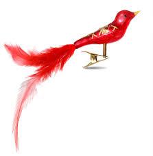 Sikora Christbaumschmuck Glas Ornament Clip Vogel Mit Federn Rot L10cm Caspar Taschen
