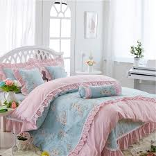 sophisticated elegant light blue and pink flower print gathered ruffle victorian lace girls cotton twin full queen size bedding sets