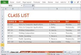 create college class schedule how to create semester schedule in excel