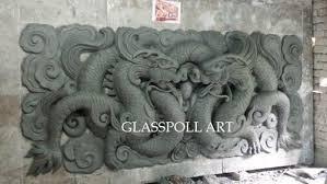 glasspoll art multi colour fiberglass chinese dragon wall art